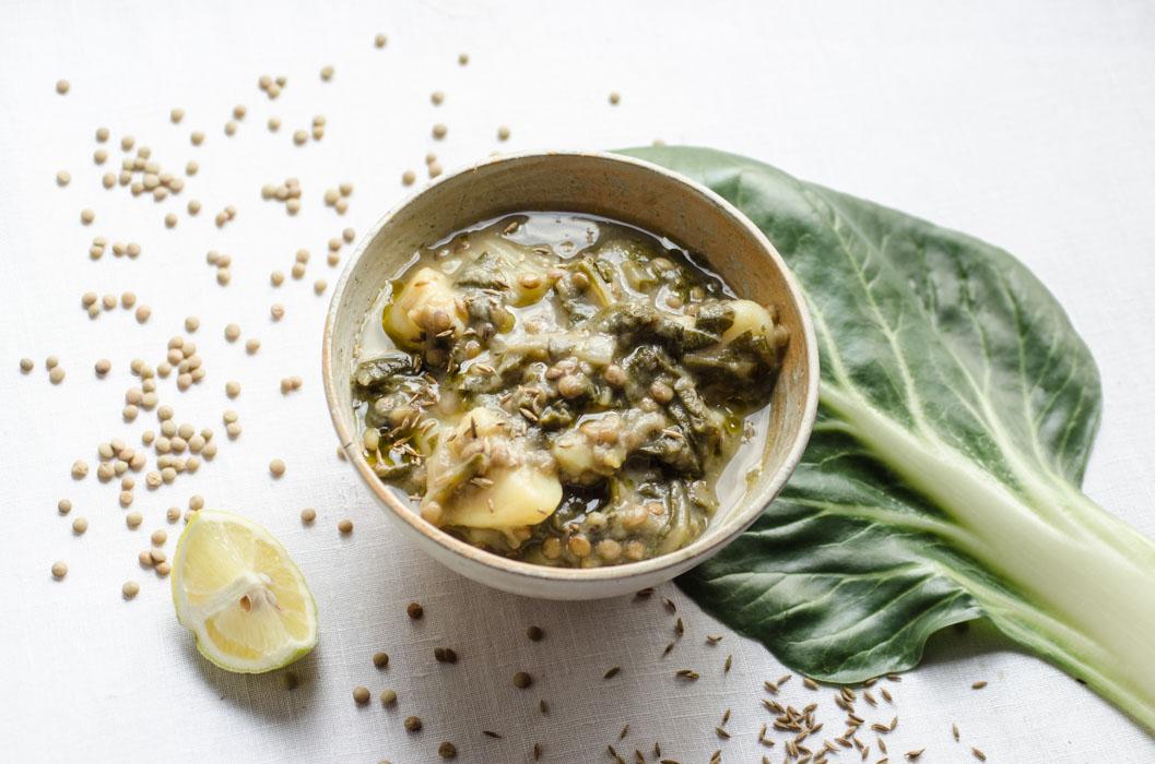 Lentil, greens, cumin and lemon soup // vegan