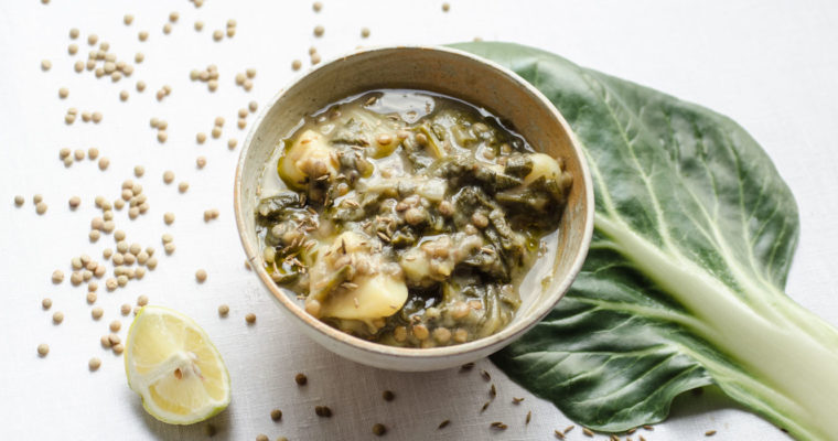 Lentil, greens, cumin and lemon soup // vegan