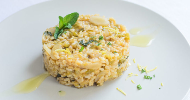 Salsify and mint risotto {vegan + gluten free}