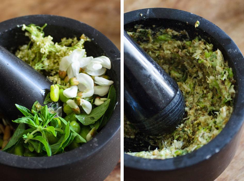 Pasta al pesto: flowers and fava beans