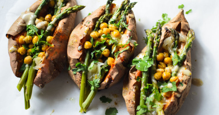 Sweet potatoes stuffed with asparagus, chickpeas and caramelised onion {vegan, gluten free + grain free}
