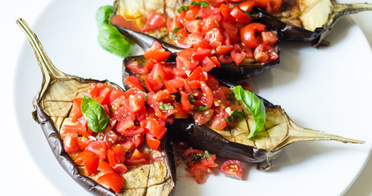 Roasted eggplant with tomatoes and purple garlic {vegan + gluten free}