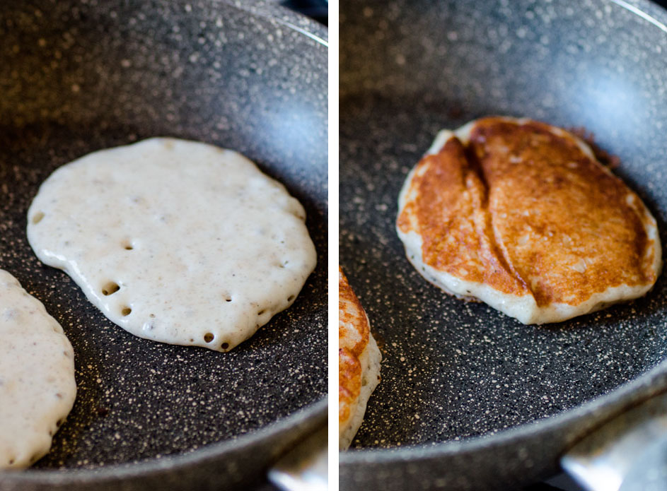 Lime, vanilla and poppy seed yoghurt pancakes