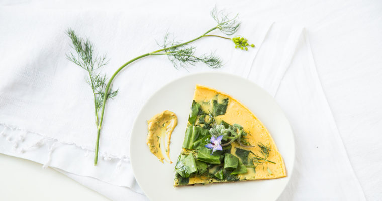 Summer greens & flowers socca (chickpea flour crêpe) // vegan