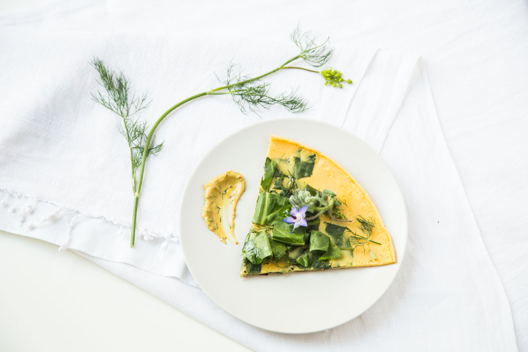Summer greens & flowers socca (chickpea flour crêpe)