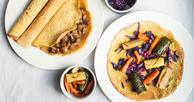 Chickpea flour crêpes with vegetables and an orange-garlic sauce {vegan + gluten free}