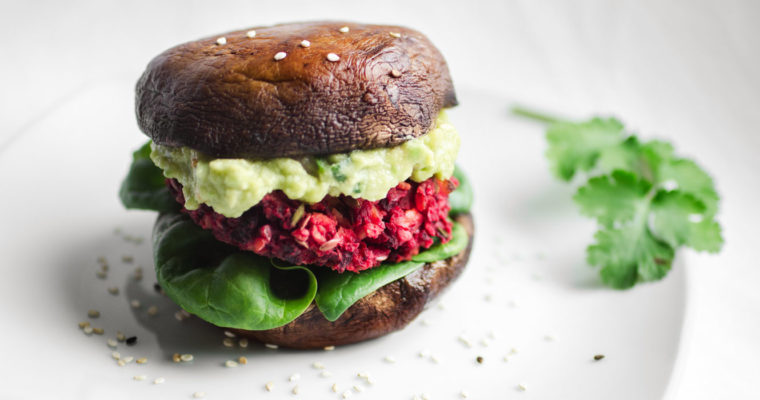 Portobello burger with a beet and chickpea patty and guacamole {vegan + gluten free + grain free}