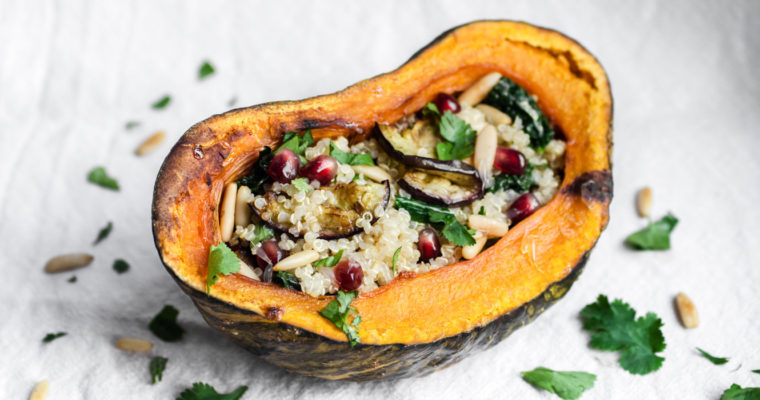 Baked kabocha stuffed with eggplant, cavolo nero and pomegranate quinoa salad {vegan + gluten free}