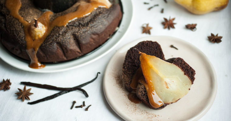 Chocolate and poached pear bundt cake + spiced caramel {vegan}