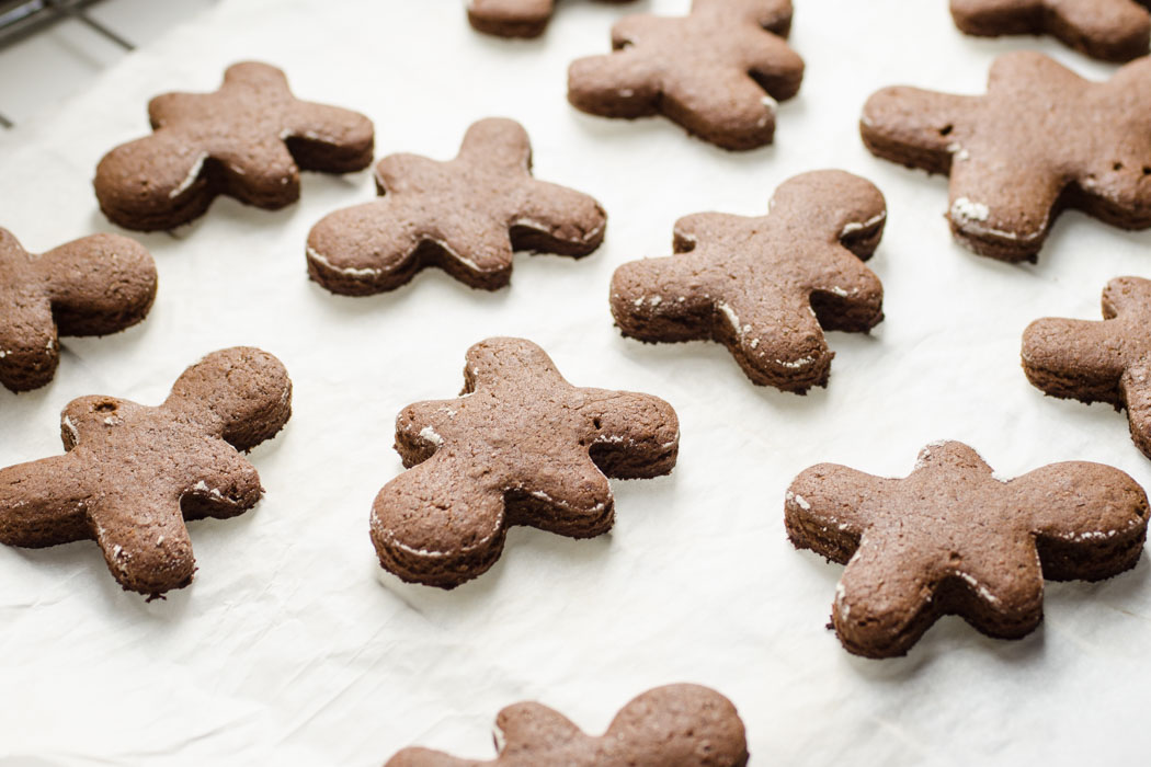 Vegan soft gingerbread cookies with cashew and chocolate icing // vegan