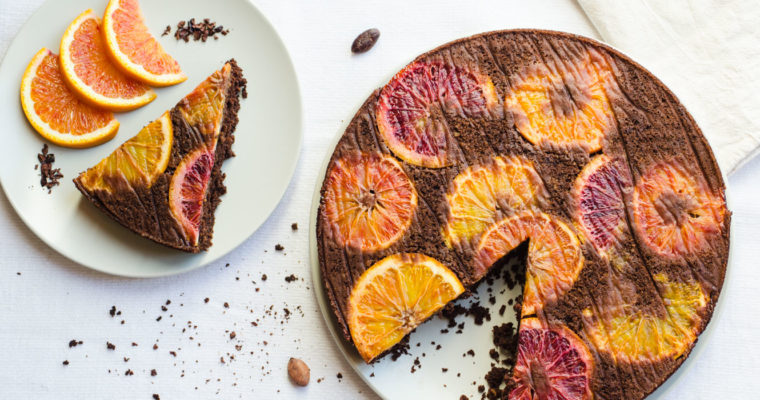 Orange and chocolate upside-down cake {vegan}