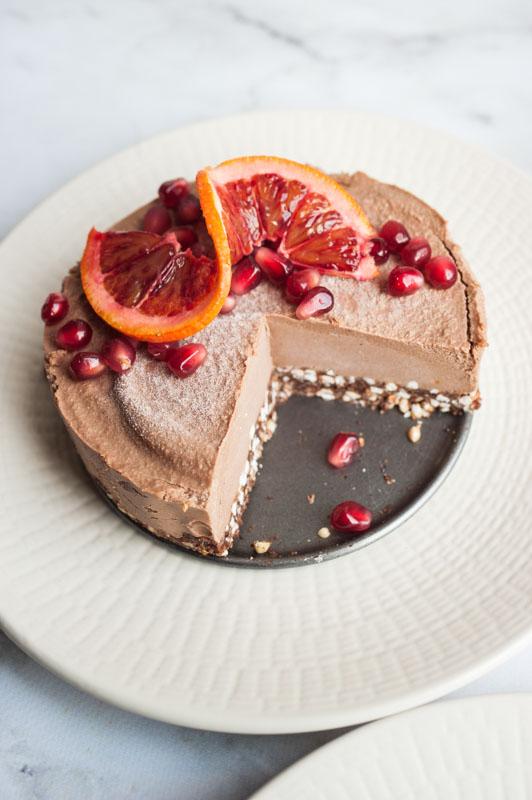 Chocolate and orange ice-cream cake (w/ a secret ingredient) {vegan + gluten free}