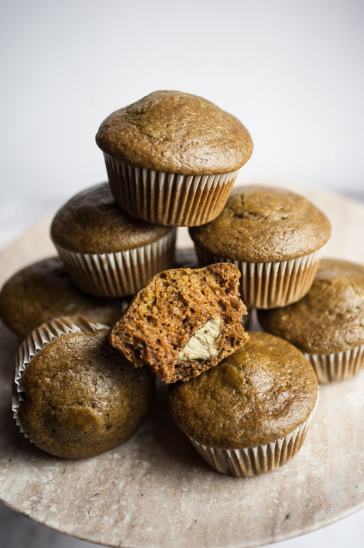 Matcha muffins with a melt-in-your-mouth pumpkin seed butter heart {vegan}