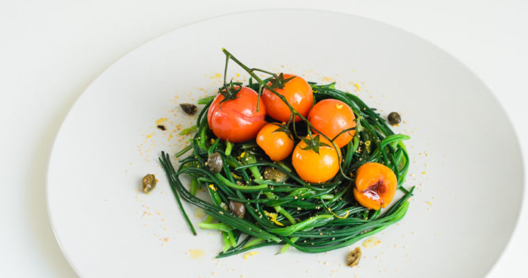Agretti nests with pan-seared tomatoes on the vine {vegan + gluten free + grain free}