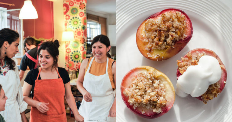 Baked peaches with fennel crumble {vegan + gluten free + grain free}