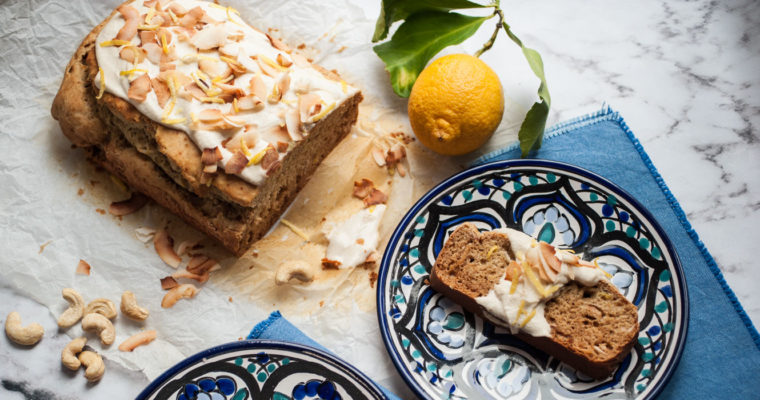 Lemon and coconut cake with cashew frosting {vegan}