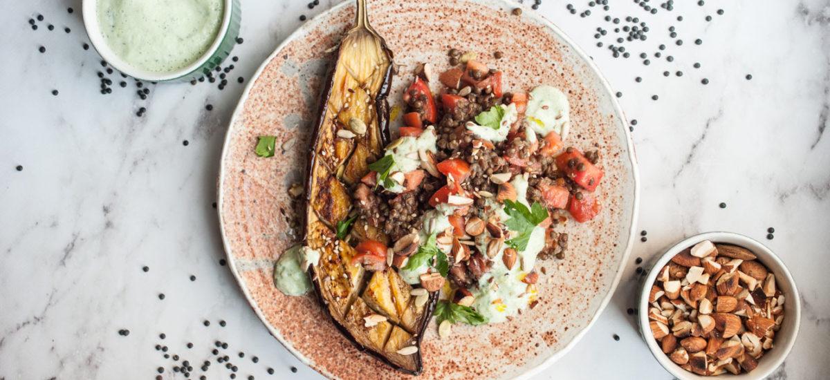 Black lentil salad with roasted eggplant and tzatziki {vegan + gluten free}