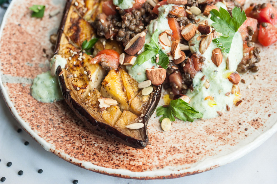 Marta's Plants - Black lentil salad with roasted eggplant and tzatziki {vegan + gluten free}