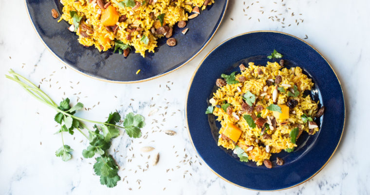 Sweet spiced basmati rice with mango {vegan + gluten free}