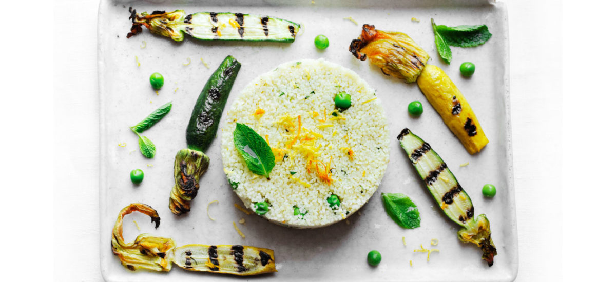 Cous cous with fresh peas, grilled baby zucchini and citrus fruits {vegan}