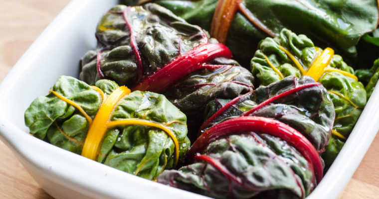 Rainbow chard rolls stuffed with black rice salad {vegan + gluten free}