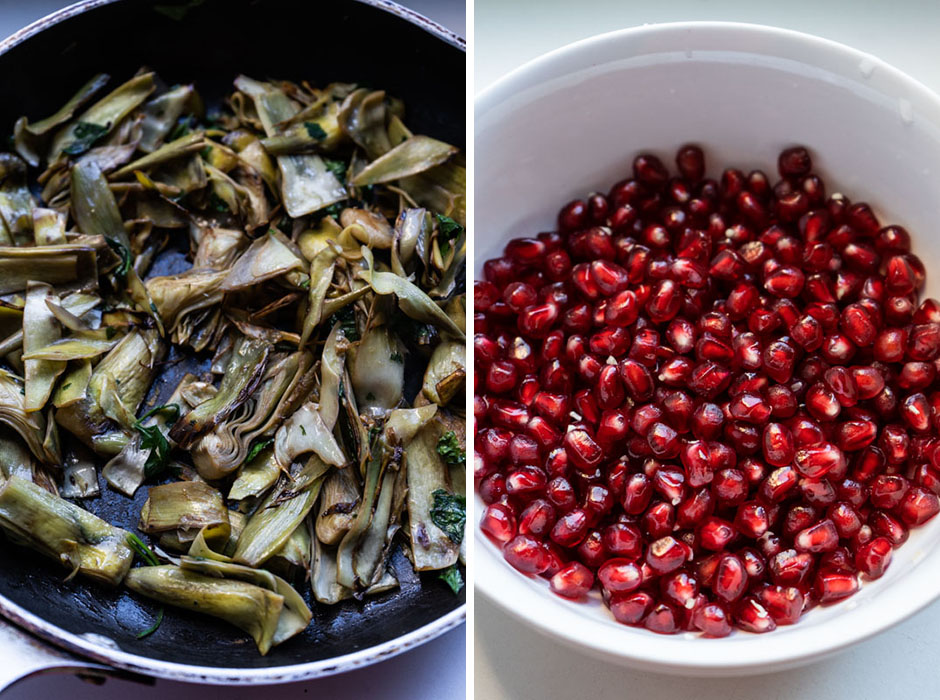 Tangy artichoke and pomegranate quinoa salad {vegan + gluten free} - Marta's Plants
