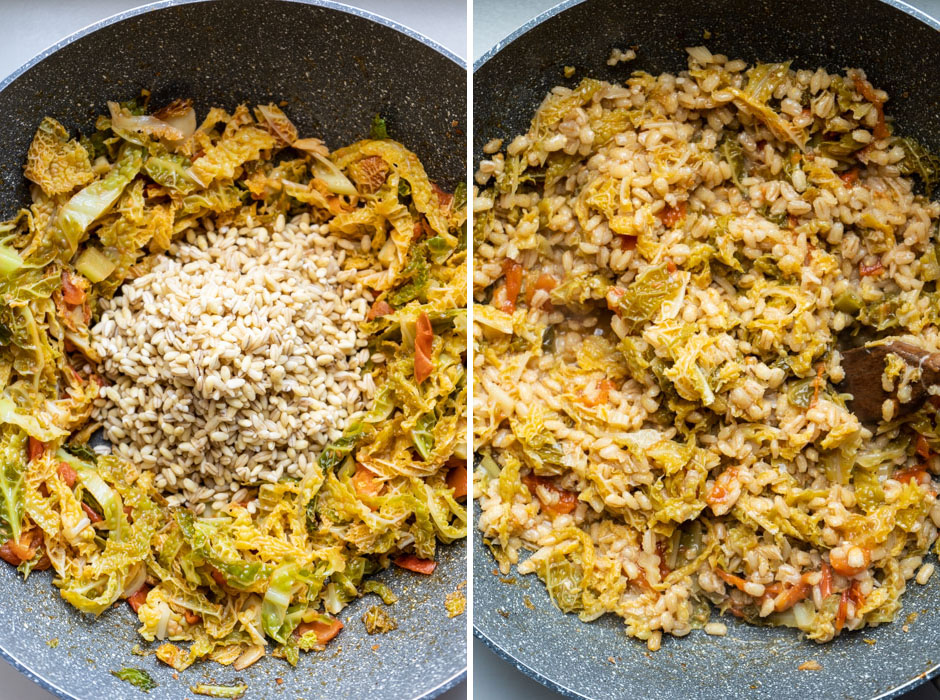Barley risotto with savoy cabbage and tomatoes + savoy cabbage chips {vegan + gluten free} - Marta's Plants