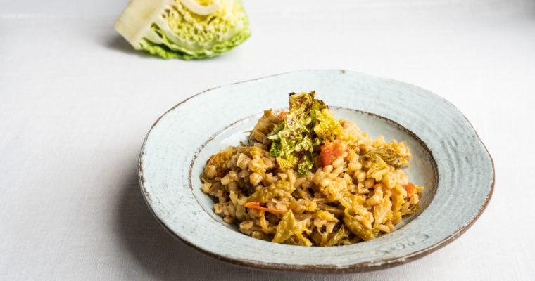 Barley risotto with savoy cabbage and tomatoes + savoy cabbage chips {vegan}