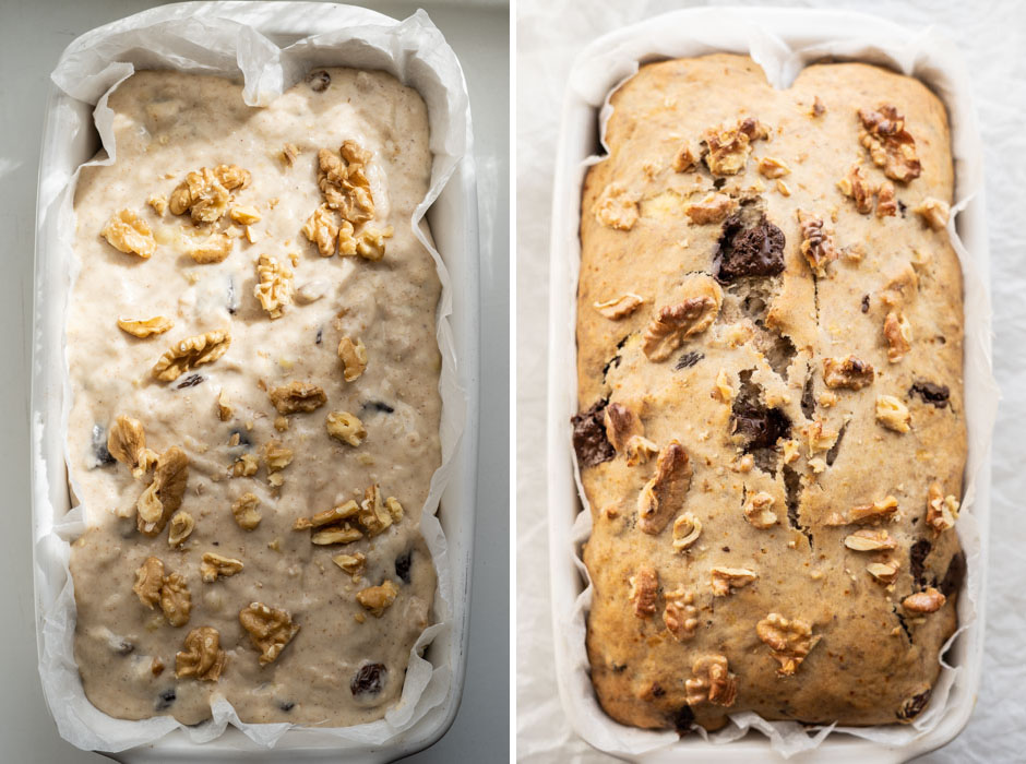 Banana bread with walnuts, raisins and chocolate {vegan} - Marta's Plants