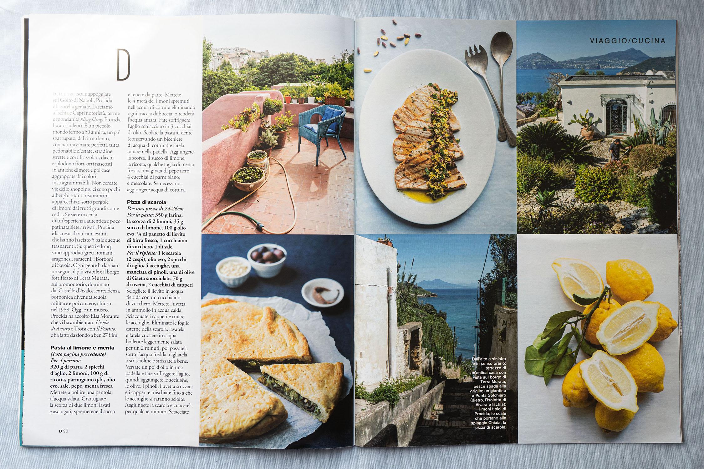 Procida servizio cucina Food editorial on D di Repubblica (June 1st, 2019) Marta Giaccone