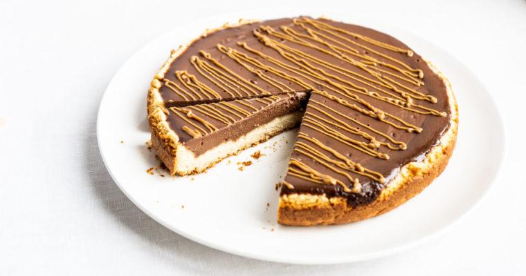 Crostata ripiena di ganache di castagne & cioccolato con caramello salato {vegan}