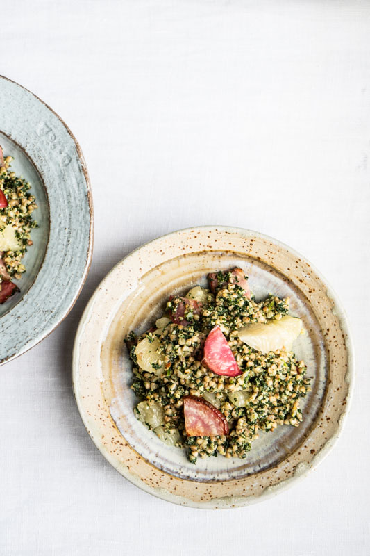Warm buckwheat with cavolo nero pesto, beets and citrus {vegan + gluten free} - Marta's Plants