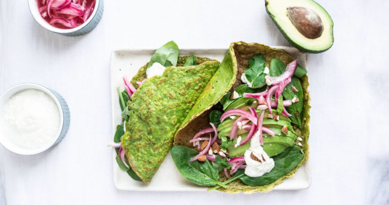 Green crêpes w/ avocado, pickled onions and tzatziki {vegan + gluten free}