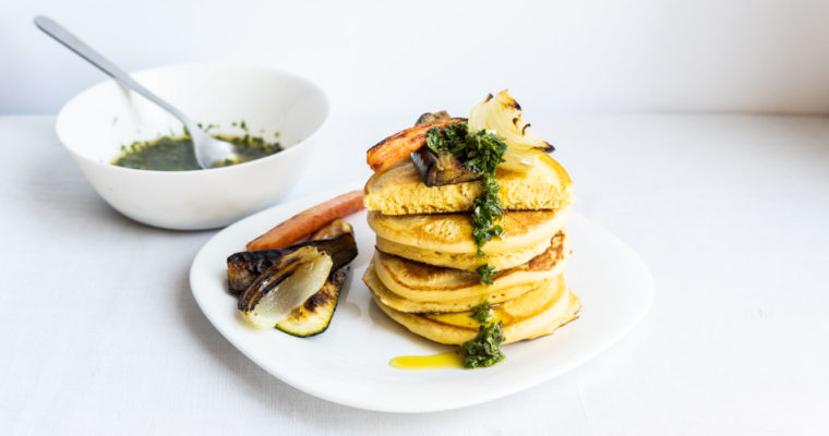 Chickpea flour pancakes with roasted veggies {vegan + gluten free}