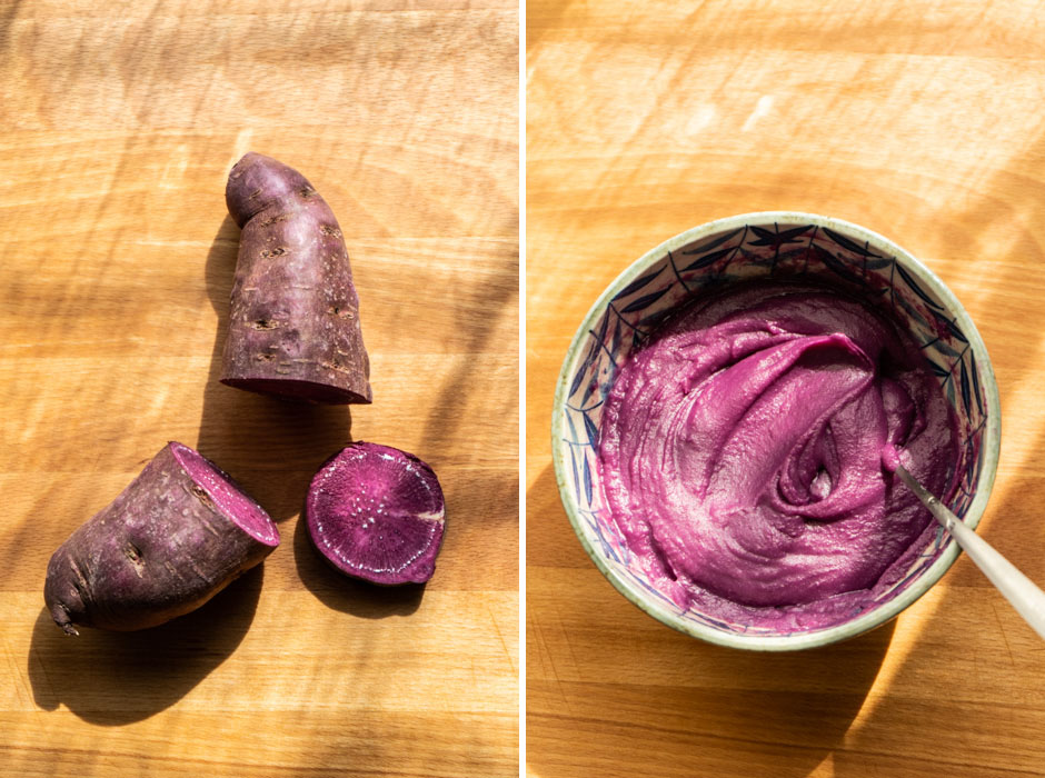 Ube (purple sweet potato) cinnamon rolls {vegan} - Marta's Plants