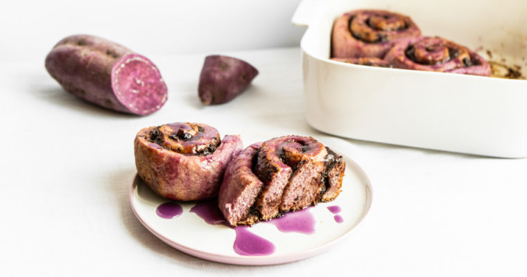 Ube (purple sweet potato) cinnamon rolls {vegan}