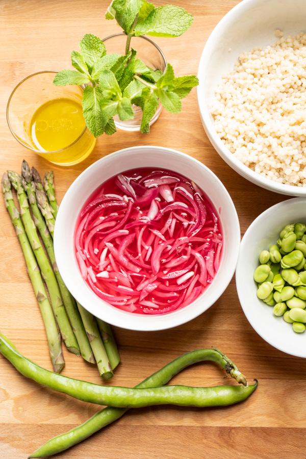 Pearl couscous green salad {vegan} - Marta's Plants