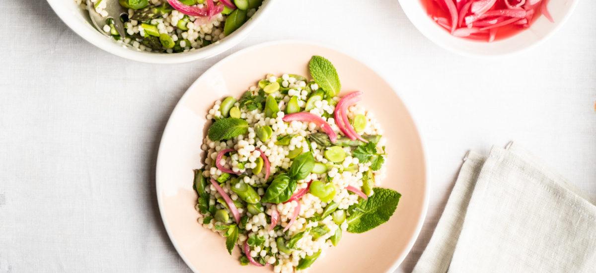 Pearl couscous green salad {vegan}